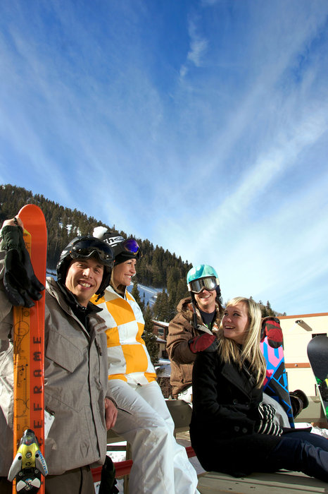 Snowboarders at Taos. Photo by Thatcher Dorn.