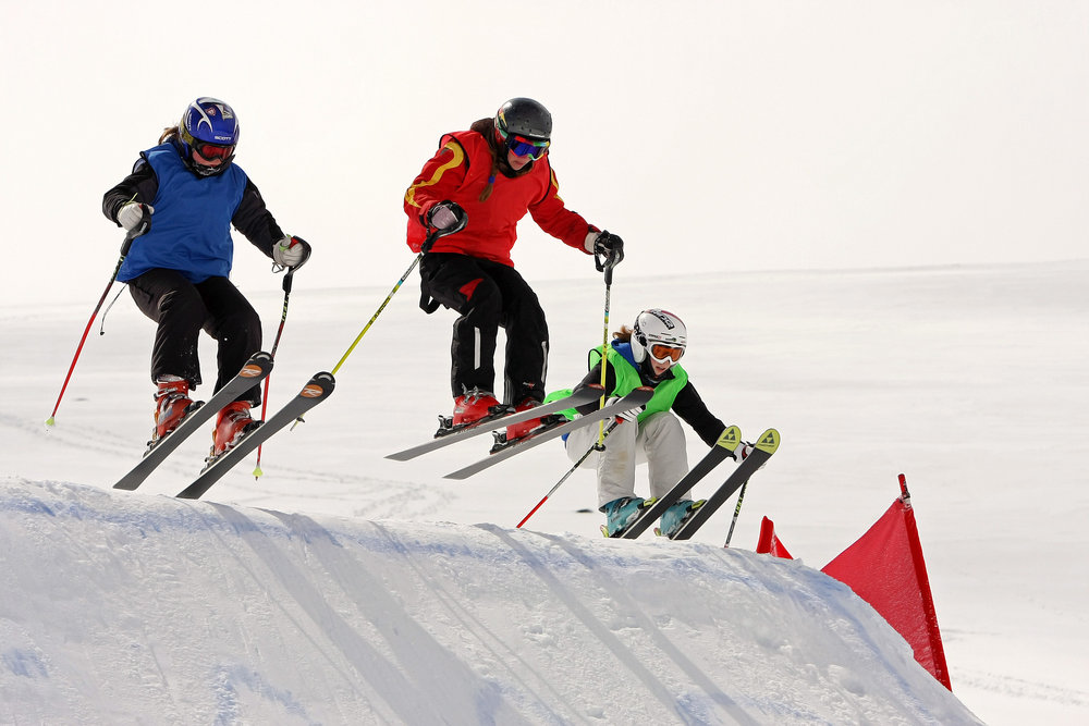 Skiers competing in the Scottish Snowcross Championship at Cairngorm