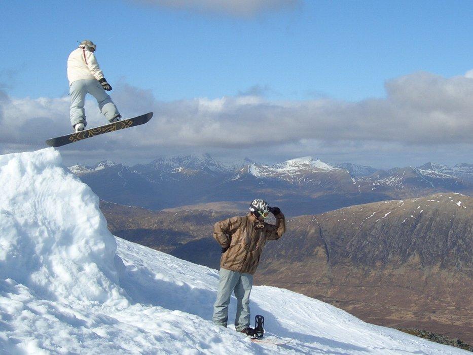 Freestyle boarders at Glencoe, Scotland