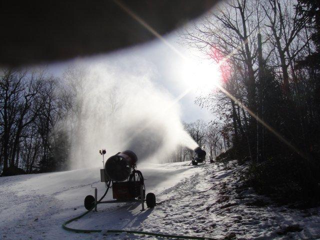 Snowmaking underway on Alley Cat at Tuxedo Ridge, NY.