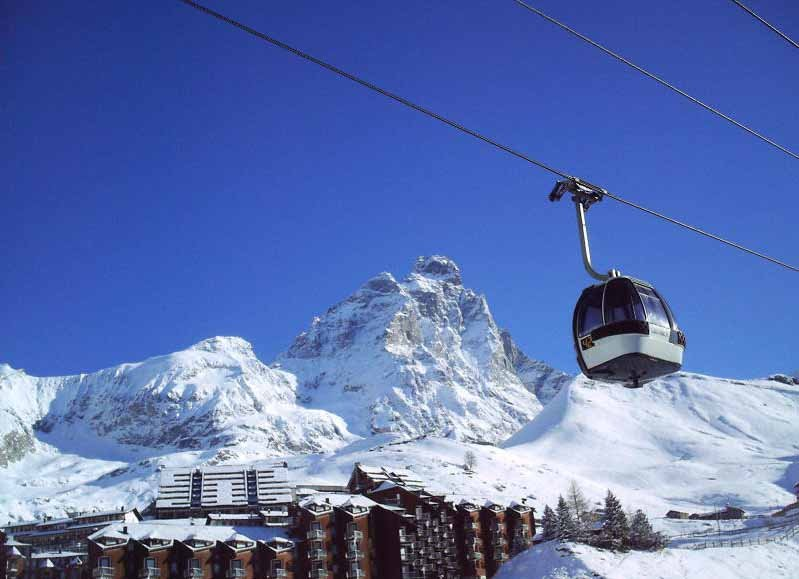 Gondola traveling over Cervinia, Italy.
