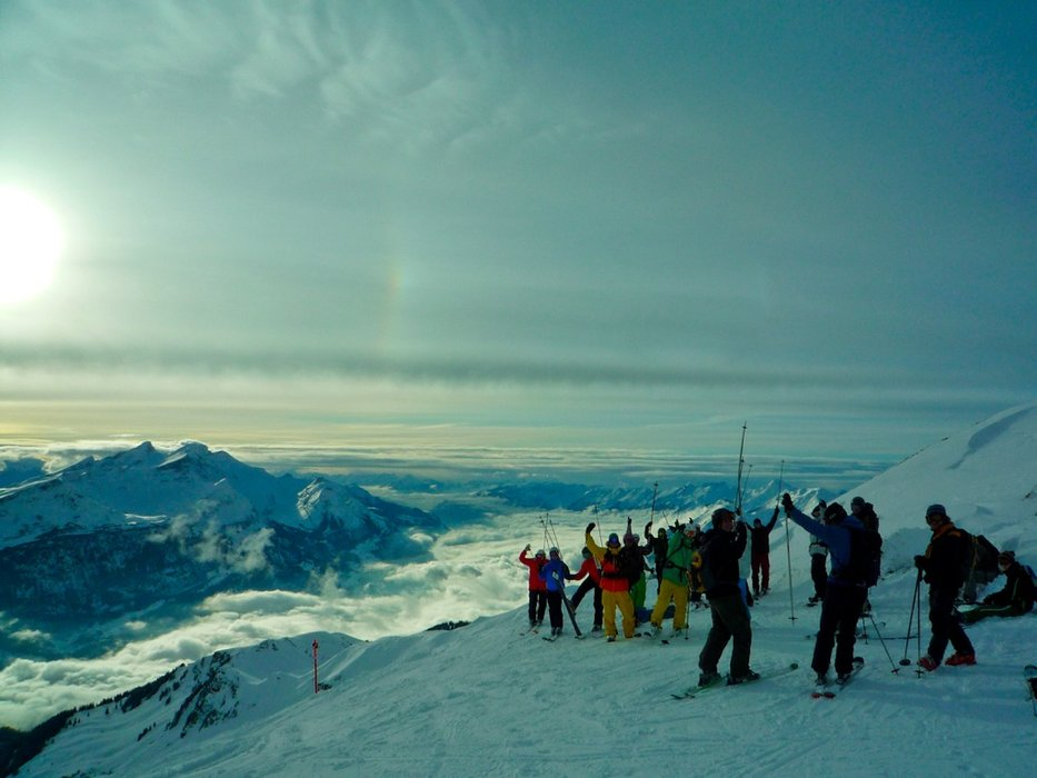 Skiers pause for a photo at Meiringen Hasliberg, Switzerland.