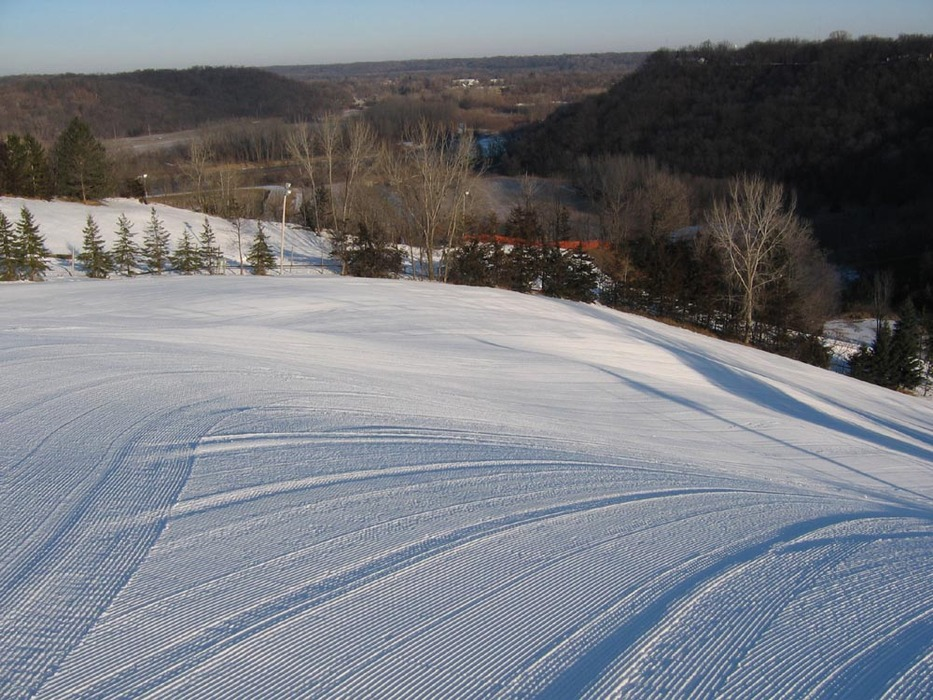 Groomer slope at Mt Kato, MN.