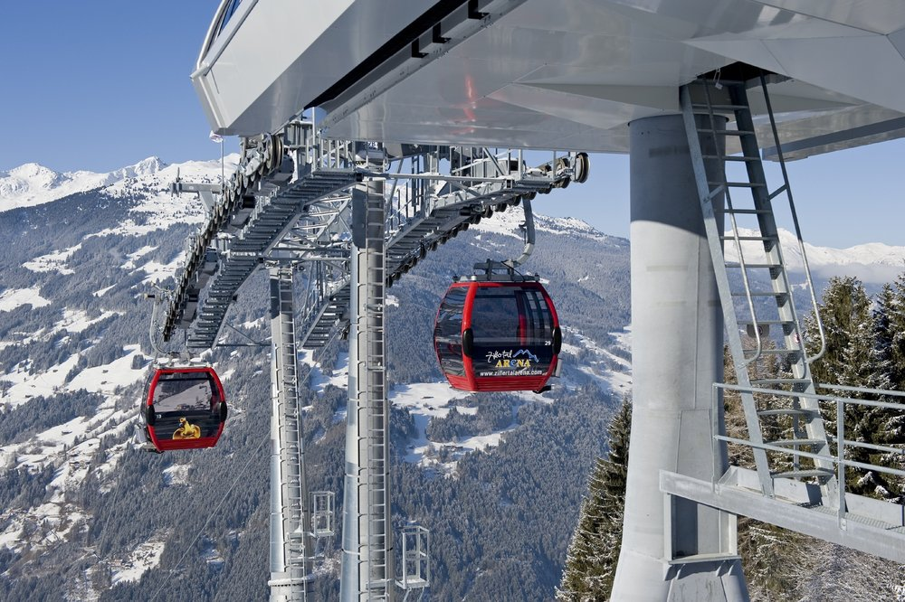 Karspitzbahn gondola over Tux, Austria. Photo by Markus Mitterer.