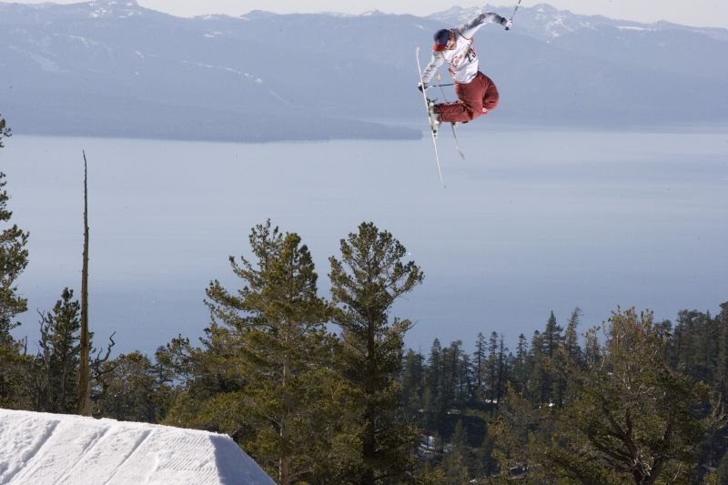 Rich Malowe gets air above Heavenly Mountain Resort in South Lake Tahoe, California