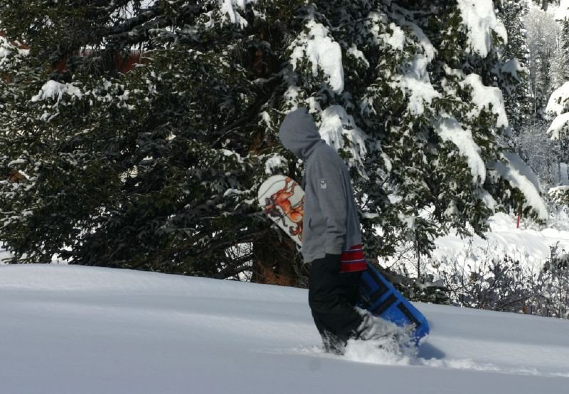 A snowboarder makes first tracks at Solitude Mountain Resort, Utah
