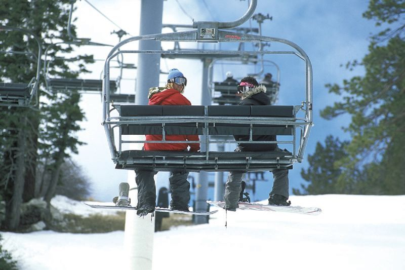 view of a chairlift in Snow Summit, California