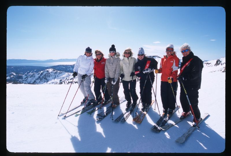 A group of women pose for a photo at the Just for Women clinic at Squaw Valley Resort, California
