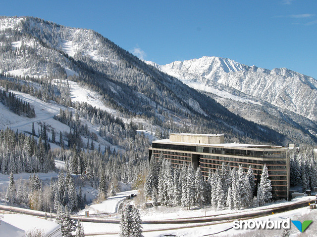 A view of a lodge in Snowbird, Utah