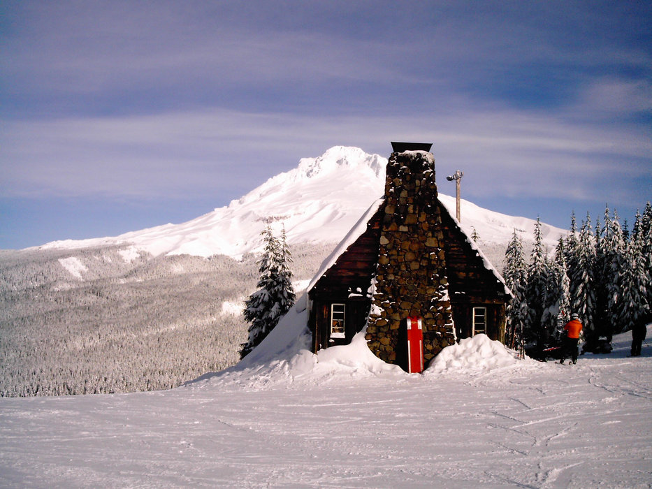 The historic warming hut is located mid-mountain at Mt. Hood Ski Bowl and sells hot beverages, snacks, and beer.