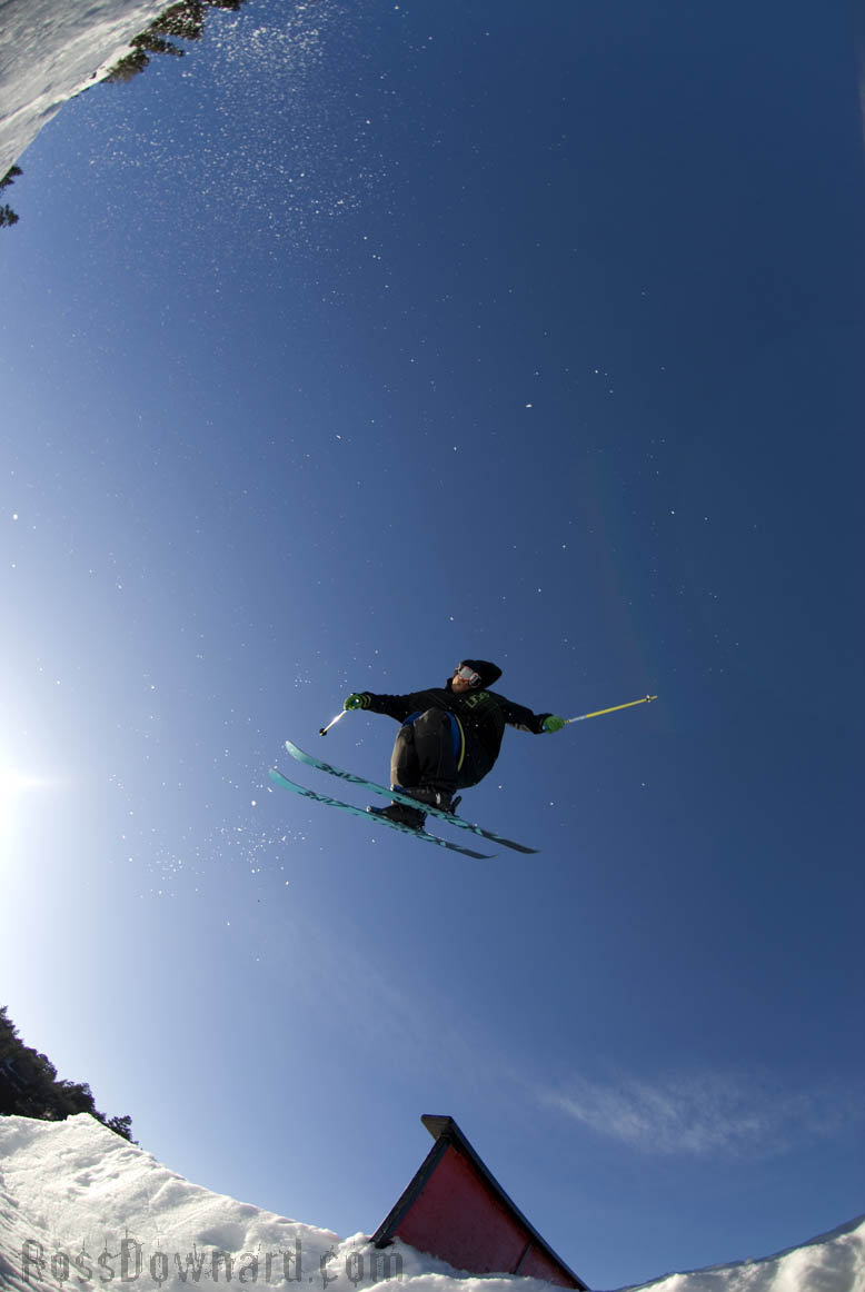 Craig Coker's War of Rails brings freeskiers to the rails at Bear Mountain. Ross Downard photo.