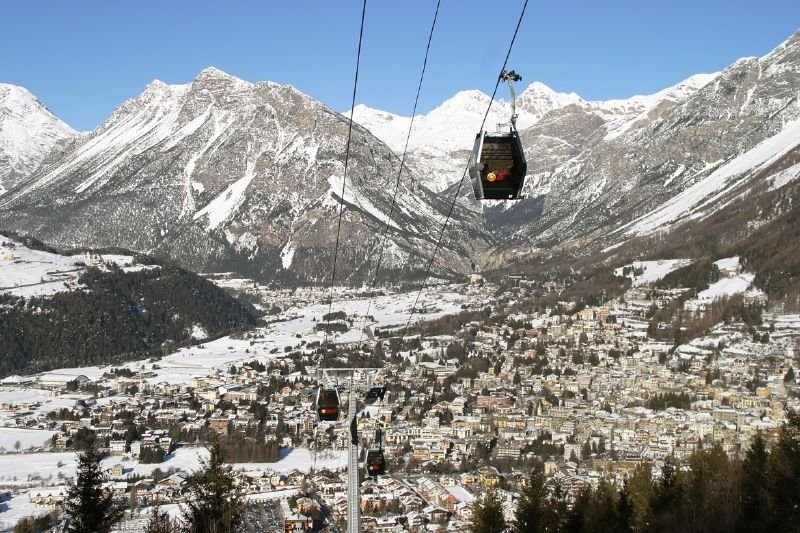 A gondola over the town of Bormio, ITA