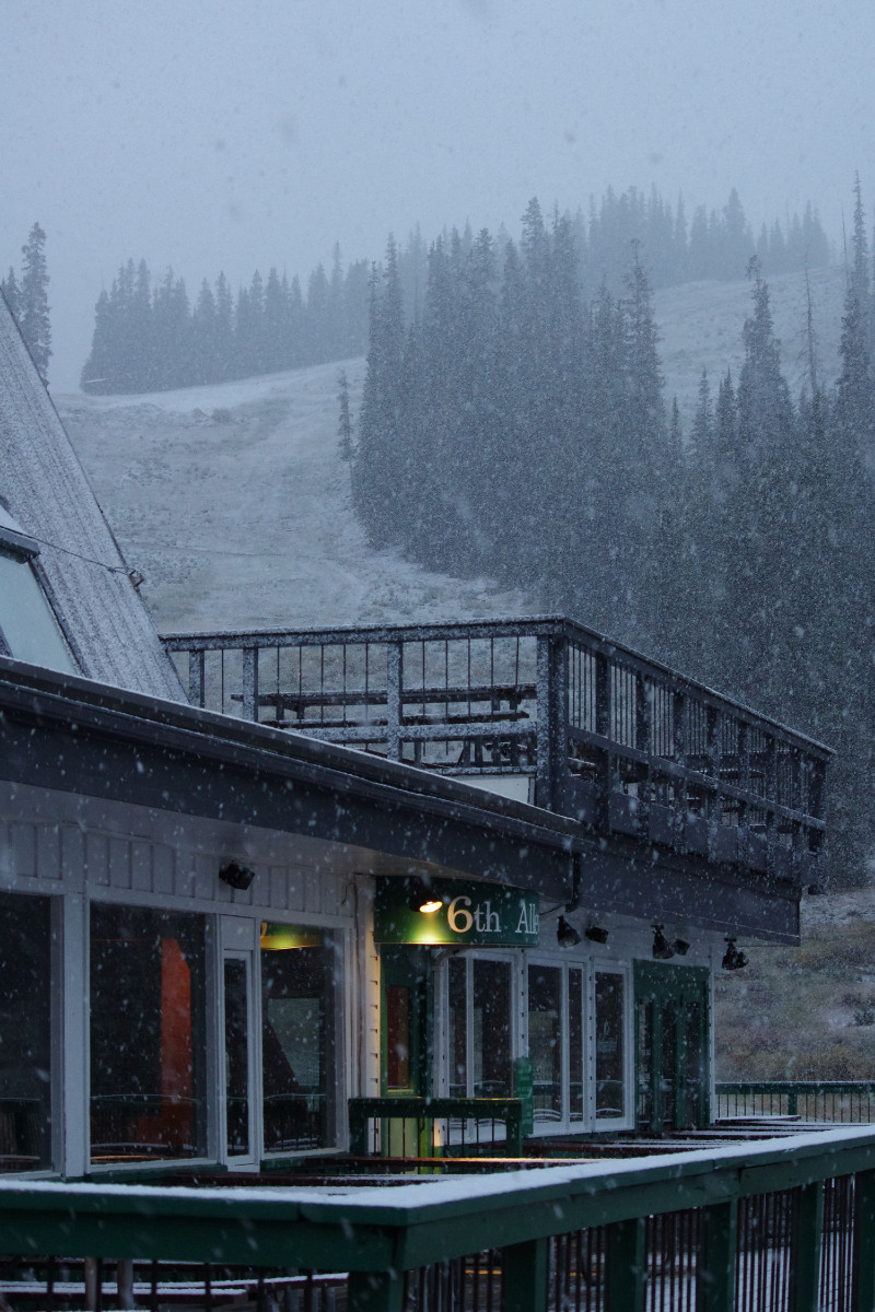 A light dusting of snow started to fill in the runs this morning at Arapahoe Basin.