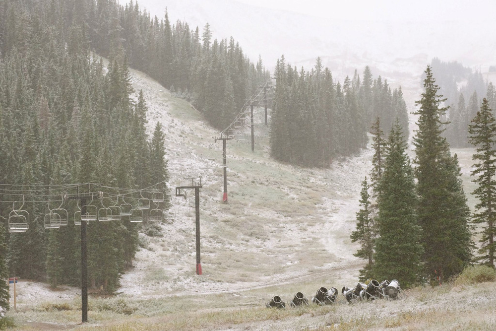 The snowguns are ready to go at Loveland Ski Area.