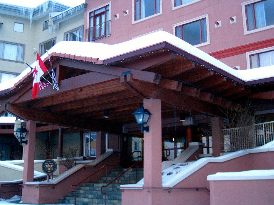 The Nancy Greene Cahilty Lodge sits slopeside in Sun Peaks Village. Photo by Becky Lomax. 