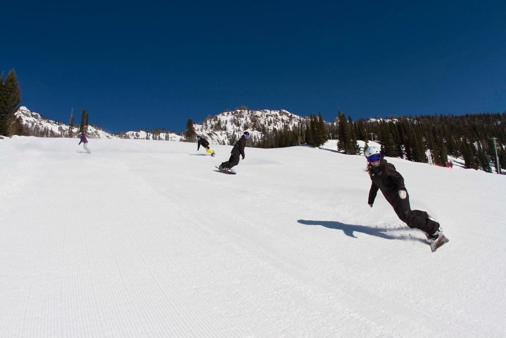 Snowboarder enjoy the groomers at Jackson Hole. Photo courtesy of Jackson Hole Mountain Resort.
