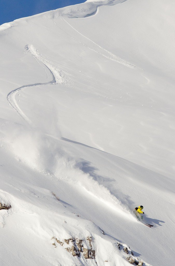 Tanner Rainville powder slashing near the French resort of Avoriaz, one of the 12 ski resort in the Portes du Soleil region.
