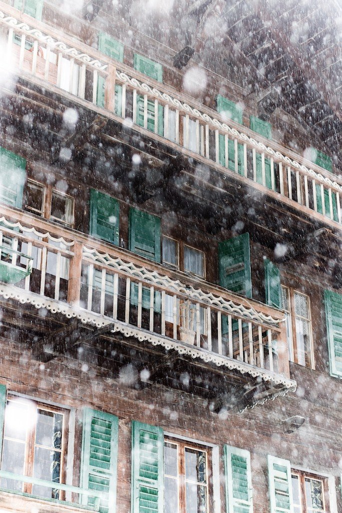 A snow storm in the Swiss village of Champery.