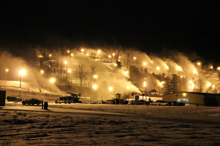 Ohio's Mad River snowmaking array in full force on a cold night