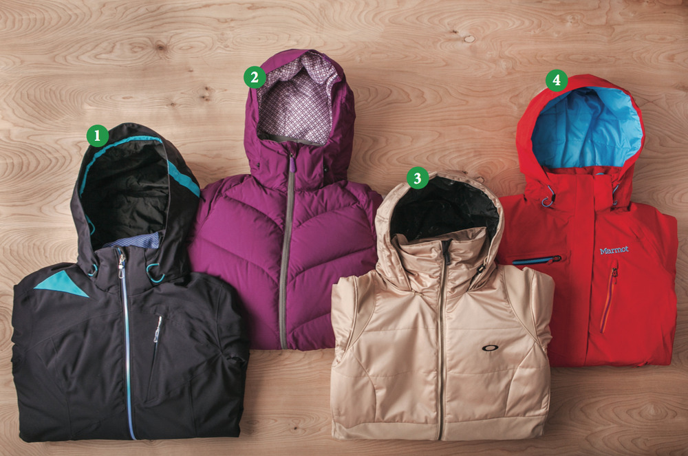 Women's Insulated Jackets: 1) Obermeyer Shasta Jacket; 2) Dakine Kensington Jacket; 3) Oakley GB Insulated Jacket; 4) Marmot Dawn Patrol