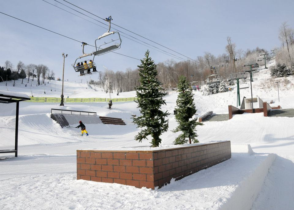 The Streets terrain park offers urban-inspired features for skiers and riders. Photo Courtesy of Seven Springs.
