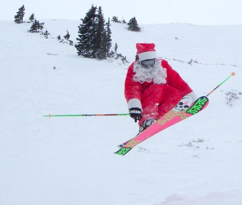 A skiing Santa at Loveland.