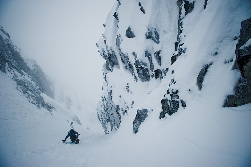 After an hour's drive North from Terrace, BC, 30 minutes on a snowmobile, and 4hrs of skinning, Chad Sayers takes a break on his way up an unnamed, probably unskied couloir in the heart of Northern BC's Coast Range.