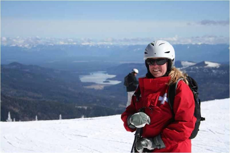 Ski patroller Deb Jepson at Mt Spokane Ski and Snowboard Park. Photo courtesy of Mt. Spokane Ski and Snowboard Park.