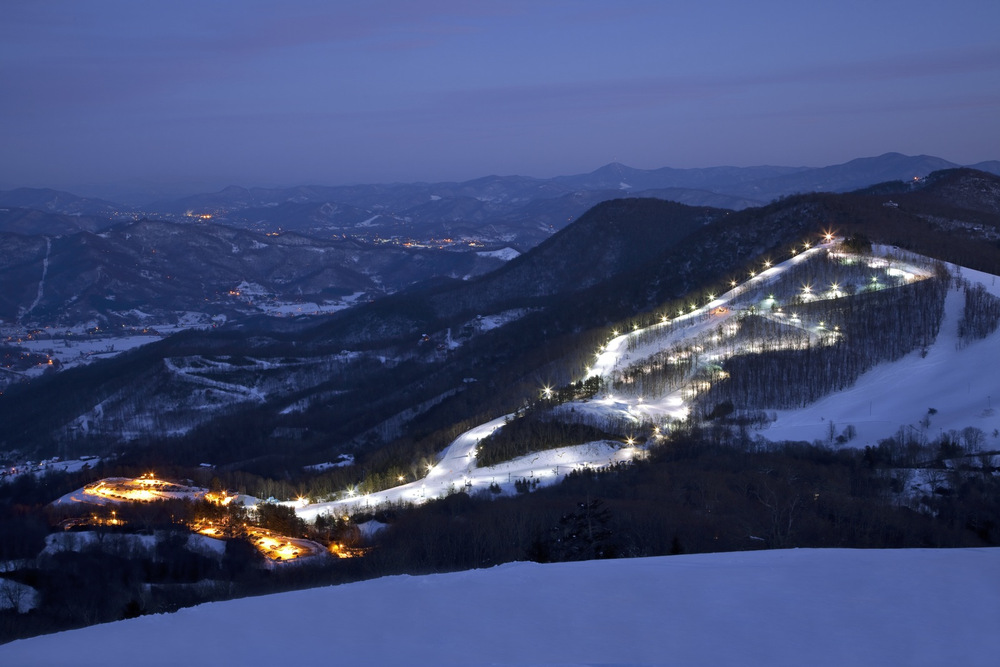 Cataloochee Ski Area at night. Photo Courtesy of Cataloochee