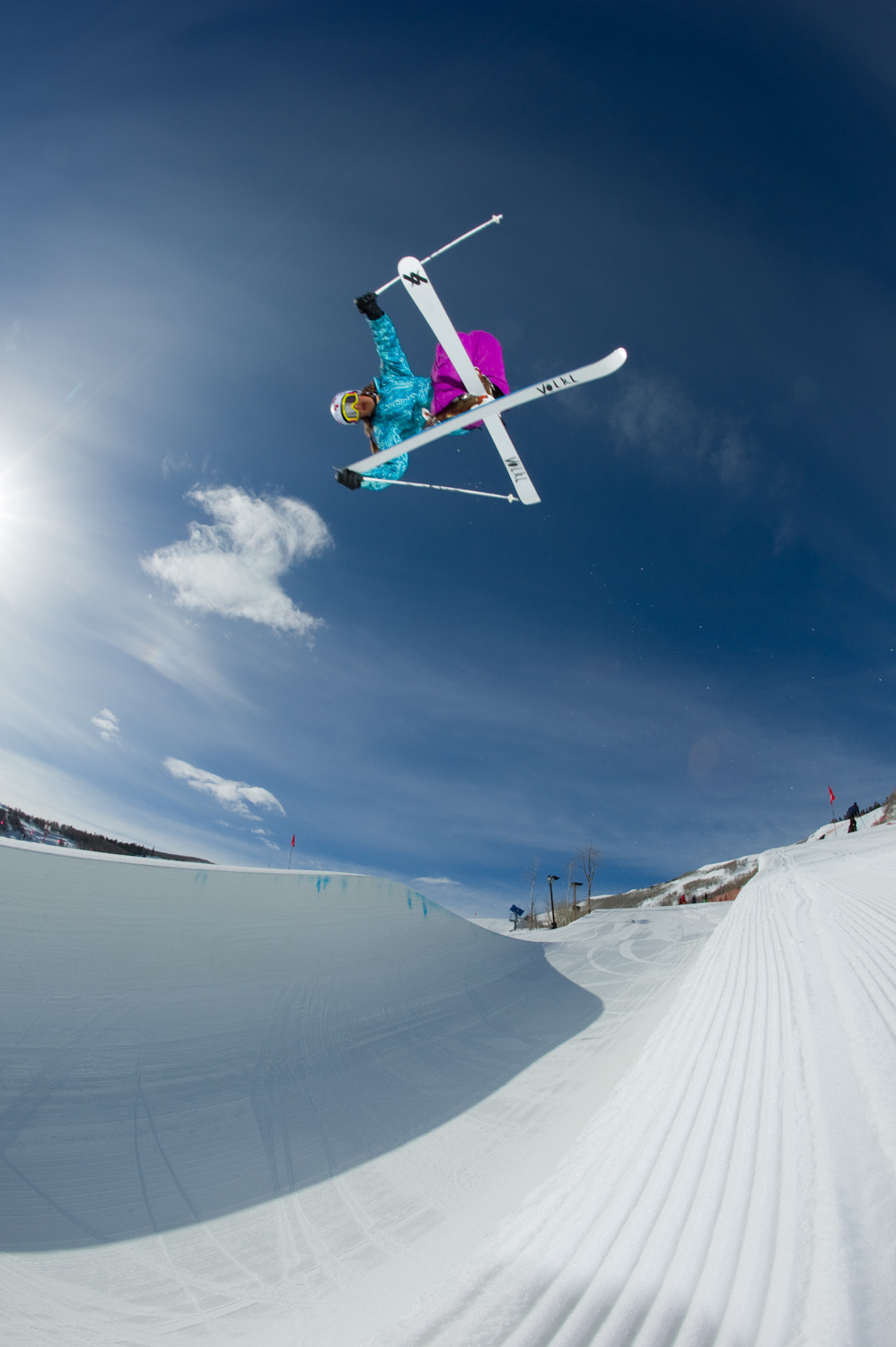 Jen Hudak in the halfpipe, Park City, Utah.