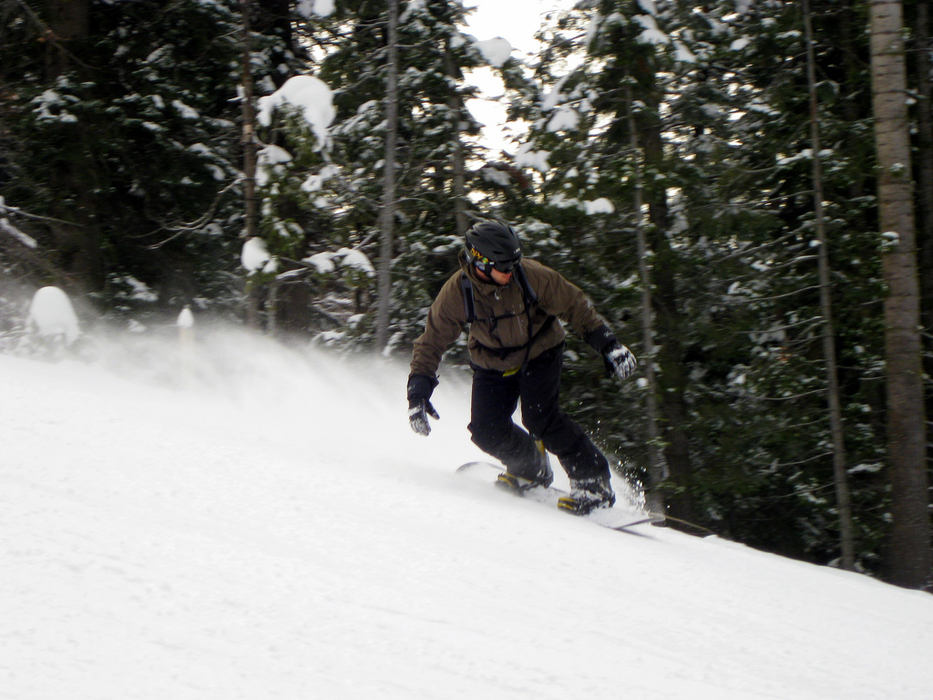 A snowboarder rides Brundage Mountain, Idaho. Photo by Tim Hagen/Flickr.