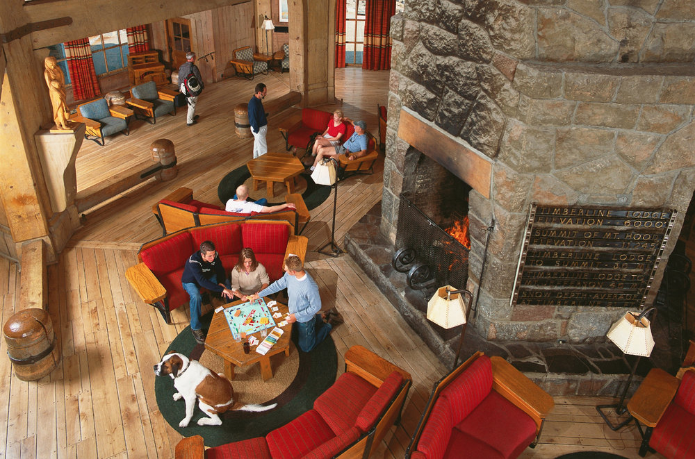 Lobby in the historic Timberline Lodge. Photo courtesy of Timberline Lodge.