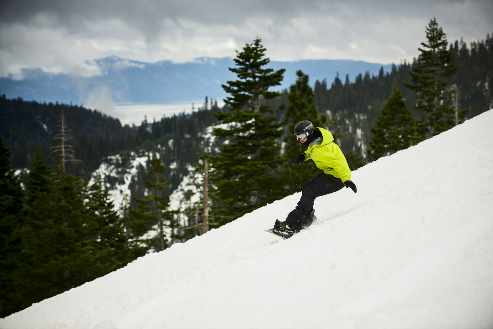 Snowboarder enjoying the start of the 2012/2013 winter season at Squaw.