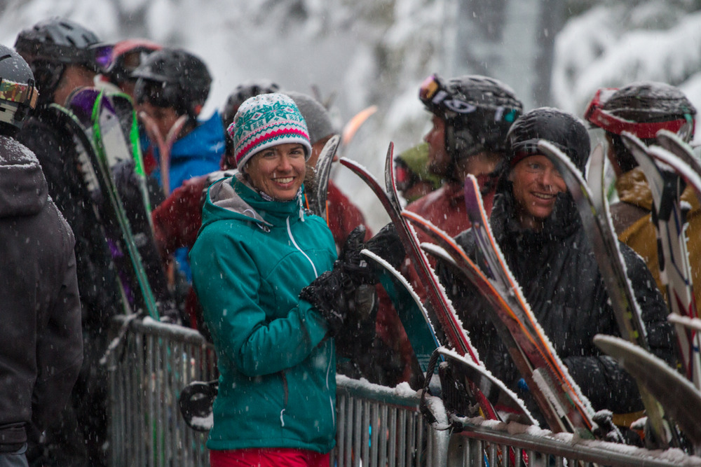 Smiles abound at Crystal as the snow continues to pile up