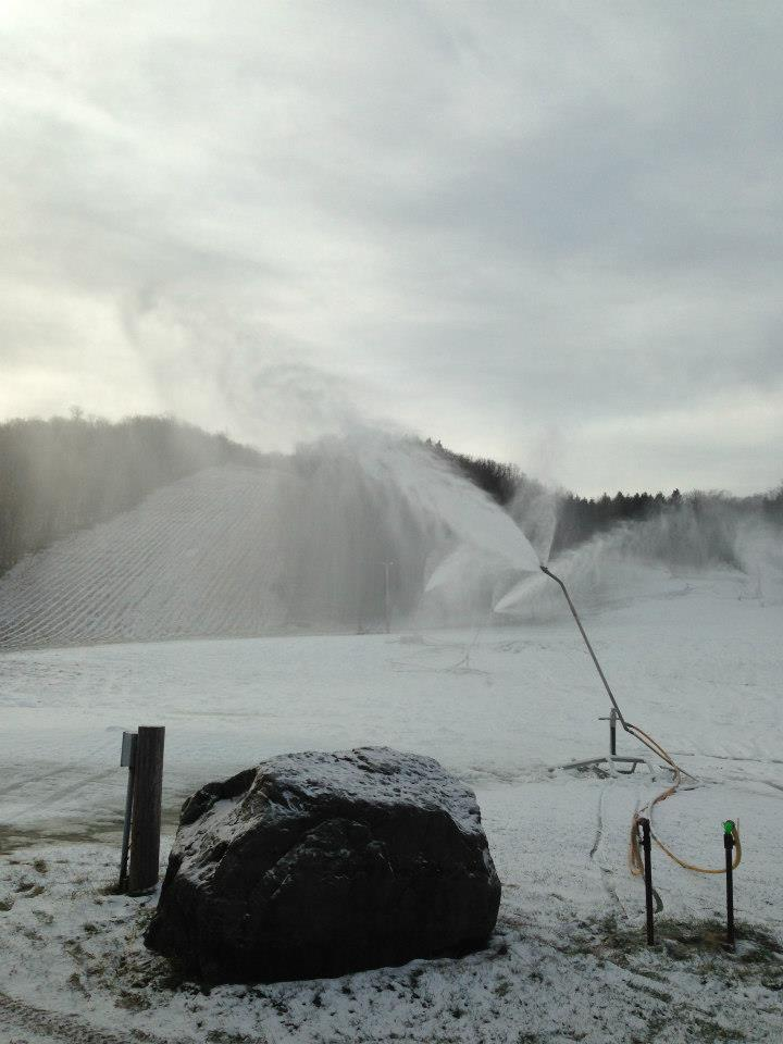 Early Season Snowblowing at Song Mountain.