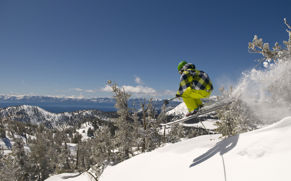 Jared Dalen powder skiing at Mt. Rose Ski Tahoe