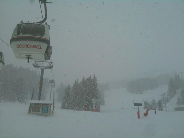 Thick snow clouds in Courchevel. Dec. 15, 2012