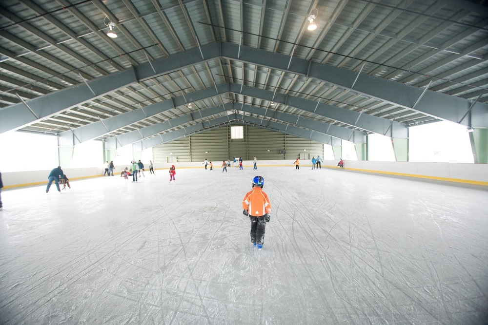 Skating in the Ice House at Jackson Gore. Photo Courtesy of Okemo Mountain Resort.