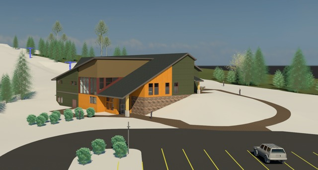 A drawing of the new base lodge at Spirit Mountain.
