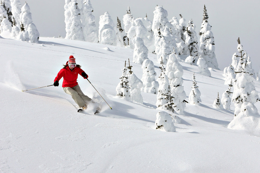 A skier dodges snow ghosts at Sun Peaks. - ©Paul Morrison/Sun Peaks Resort