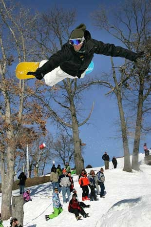 Catching some air at Ski Snowstar.