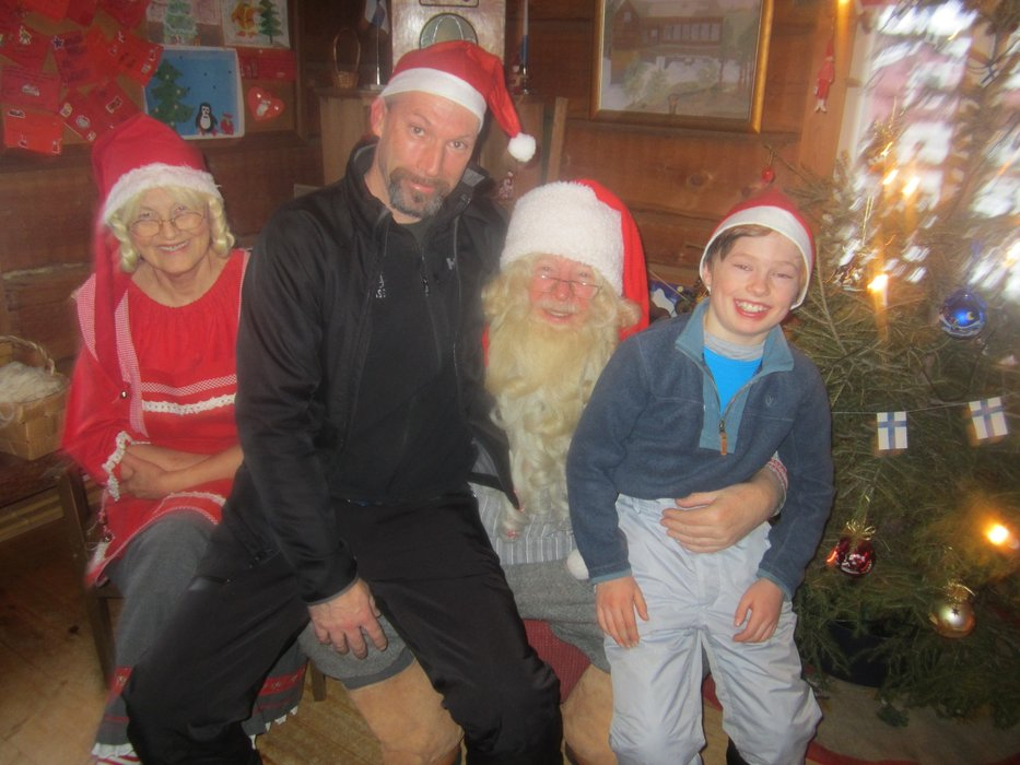 Patrick and Robert meeting Santa in Lapland