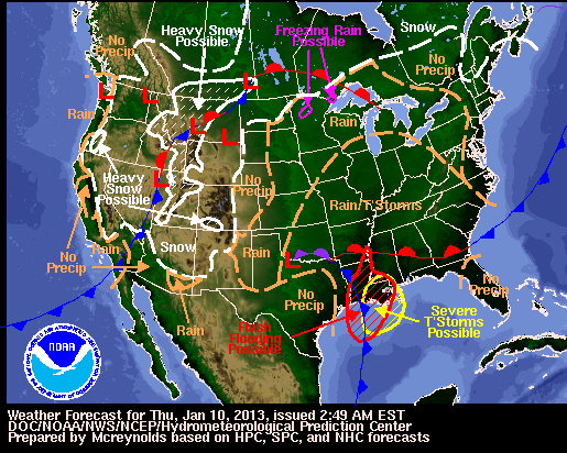 The West Coast will have a break from precipitation for the first time this winter. - ©NOAA
