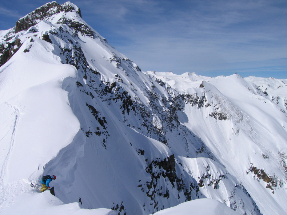 Pro skier Pep Fujas set to drop in at Silverton Mountain. - ©Silverton Mountain