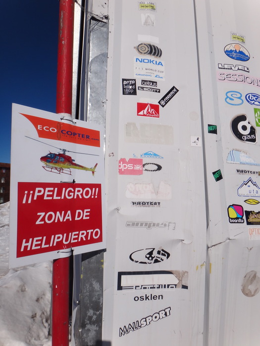 Stickers left by skiers at Valle Nevado.