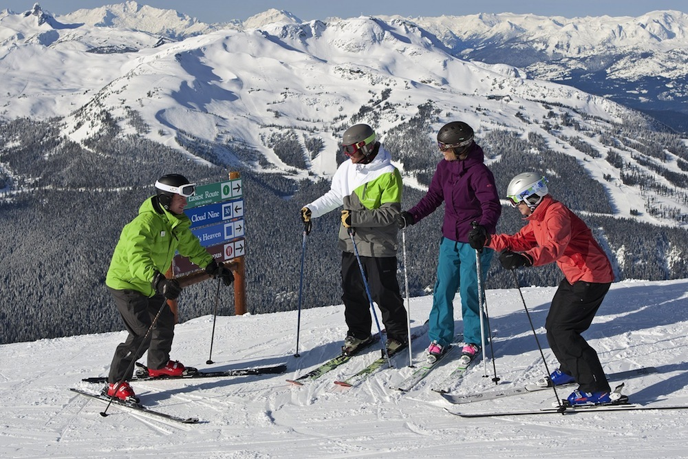 An adult ski lesson at Whistler Blackcomb. Photo by Paul Morrison, courtesy of Whistler Tourism