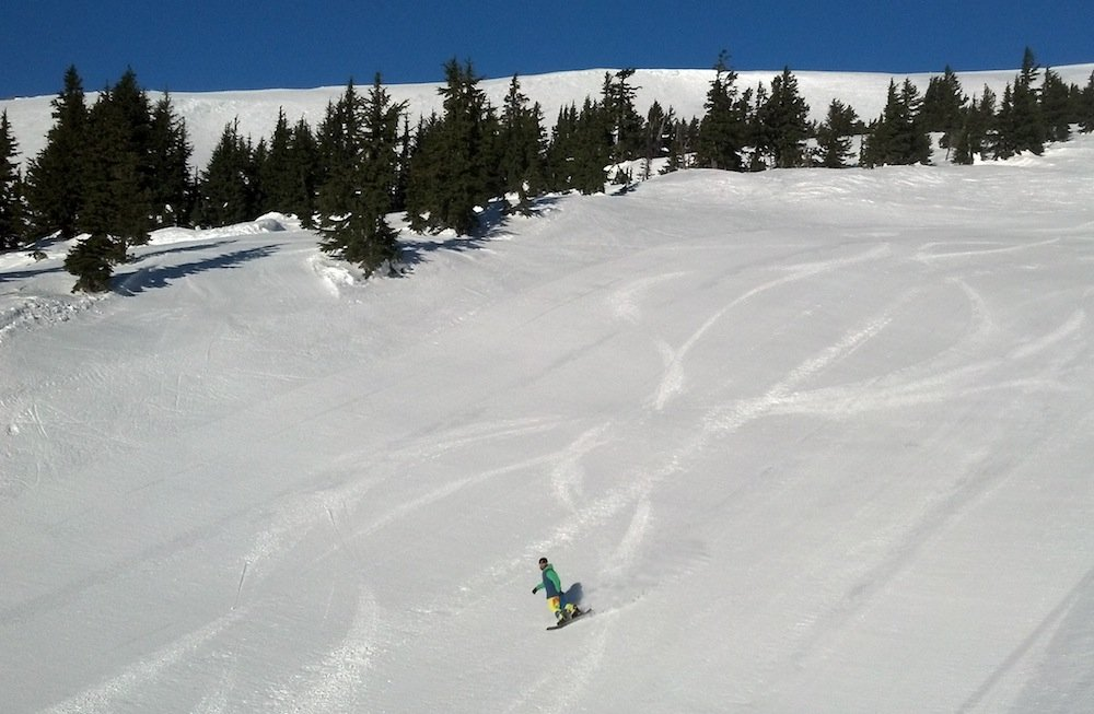 Fresh turns on a groomer at Mt. Hood Meadows. Photo by Krissy Fagan, courtesy of Mt. Hood Meadows.