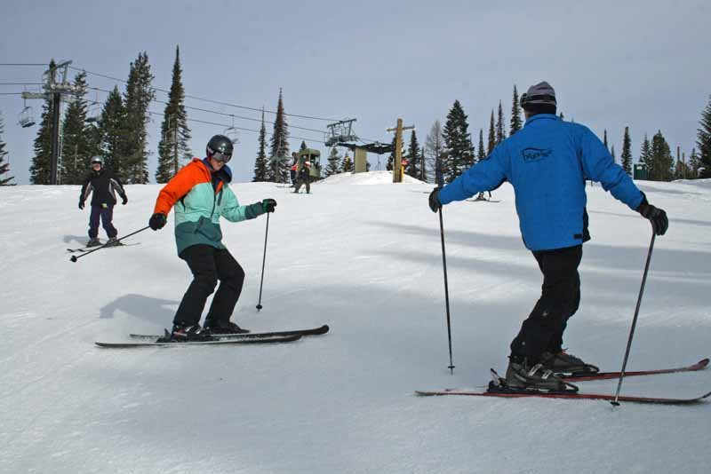 A ski lesson at Brundage. Photo courtesy of Brundage Mountain Resort.