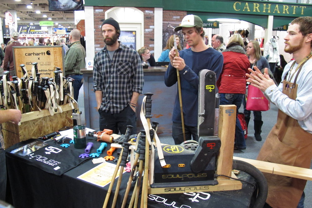 SoulPoles craft super strong ski poles out of bamboo. The team from SoulPoles gave a demonstration on how these eco-friendly poles are made. - ©Dan Kasper