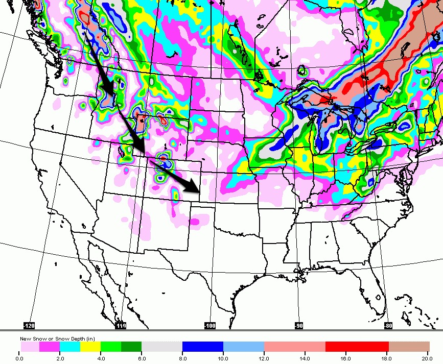 Storms track through the northern Rockies late this week making the January dry spell a distant memory. Snow forecast is Wednesday through Sunday (2/3).